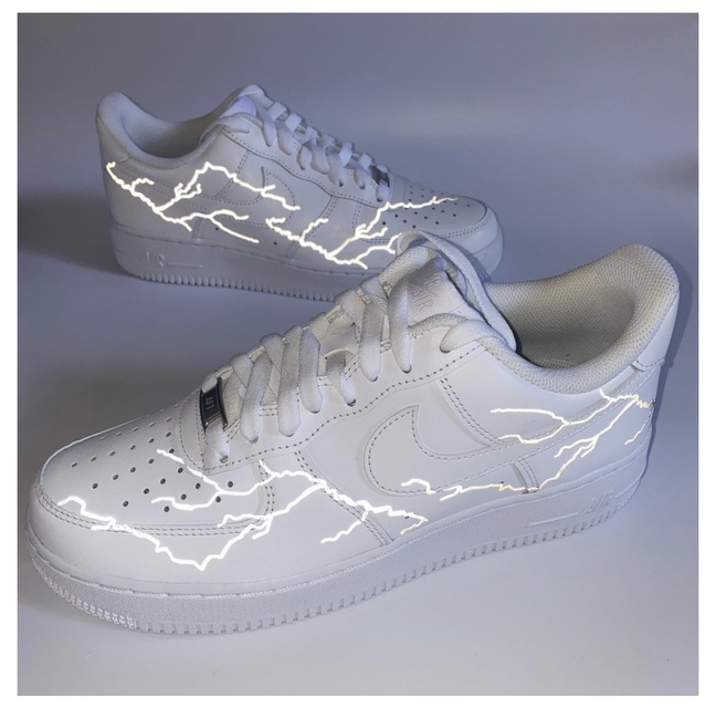 3M Reflective Silver Lightning Nike Air Force 1