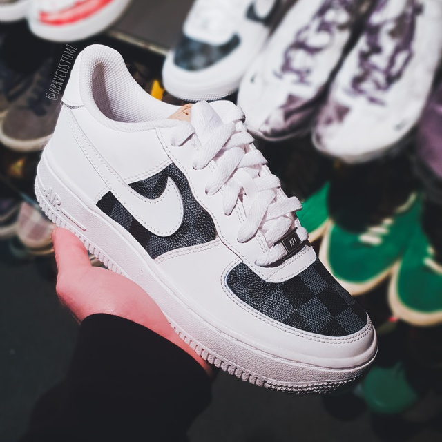 Air force 1 x Lv Print leather customs