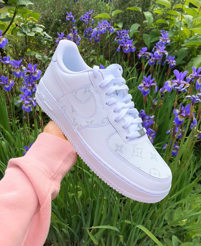 White & Grey LV Monogram Nike Air Force 1