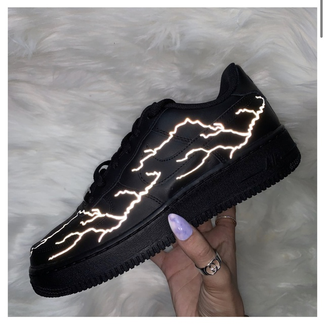 3M Reflective Silver Lightning Nike Air Force 1 Black