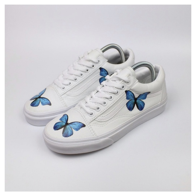 HD Blue Butterfly Old Skool Vans