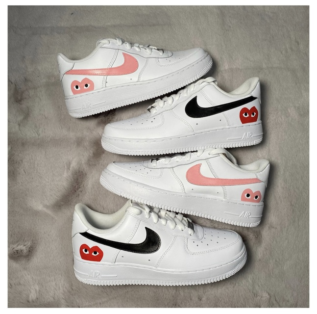 Pink CDG Heart Nike Air Force 1